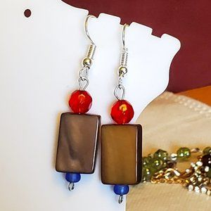 Silver Tone Hook Mother of Pearl and Glass Earring